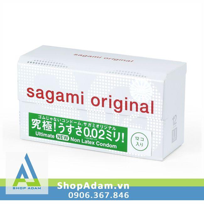Bao cao su siêu mỏng SAGAMI Original 0.02 Nhật Bản (Hộp 12 chiếc)